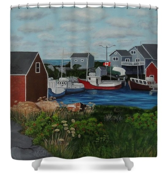 Peggy's Cove printed on a shower curtain